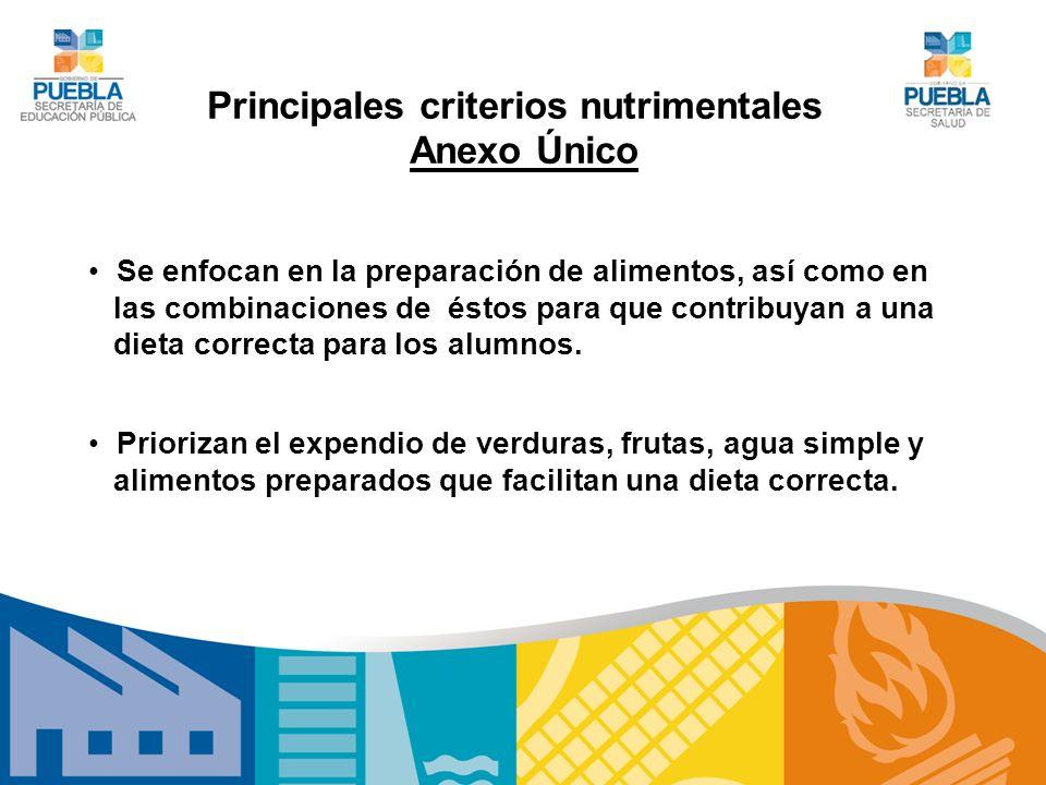Principales criterios nutrimentales