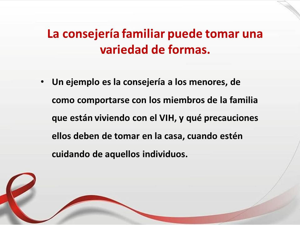 La consejería familiar puede tomar una variedad de formas.