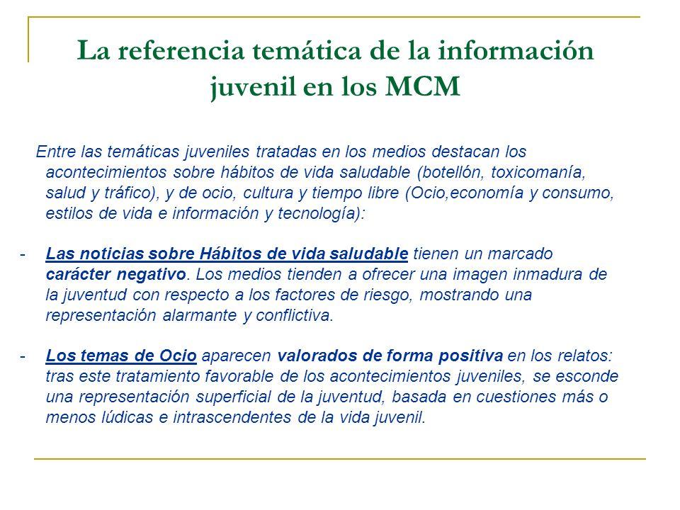 La referencia temática de la información juvenil en los MCM
