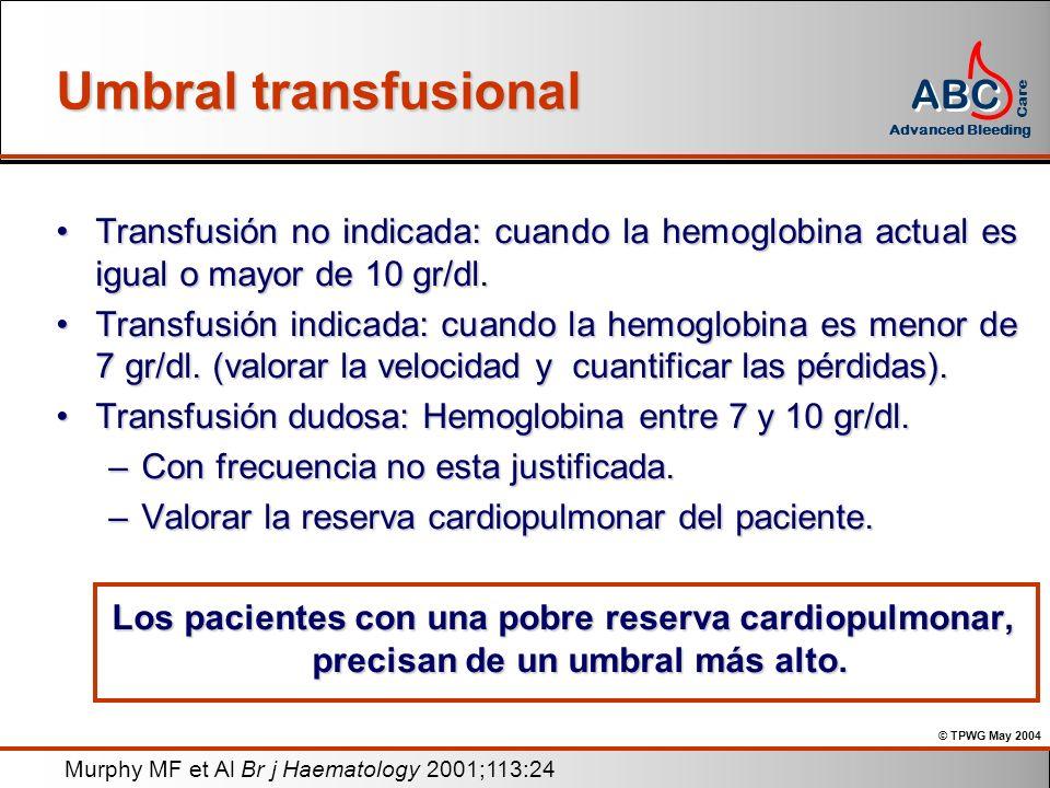 Umbral transfusional Transfusión no indicada: cuando la hemoglobina actual es igual o mayor de 10 gr/dl.