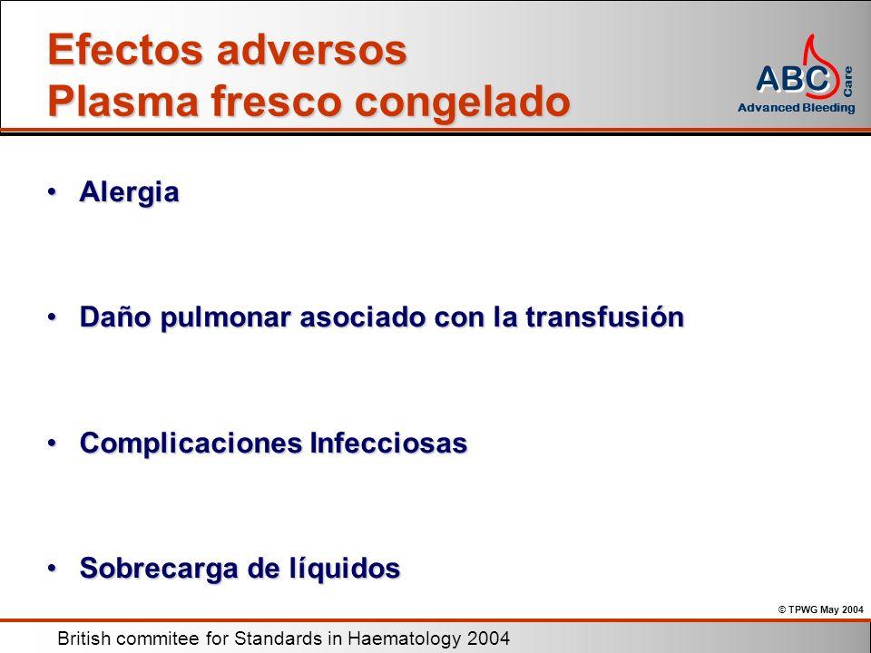 Efectos adversos Plasma fresco congelado