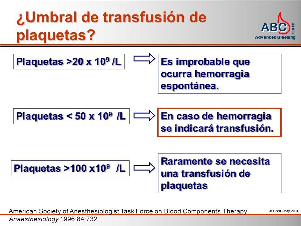¿Umbral de transfusión de plaquetas