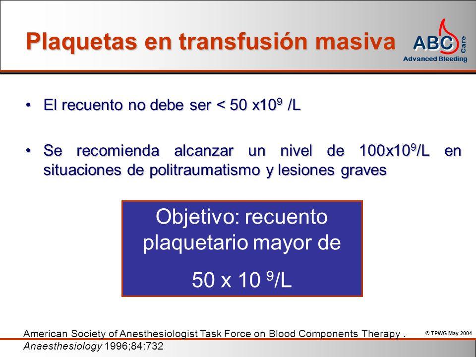 Plaquetas en transfusión masiva