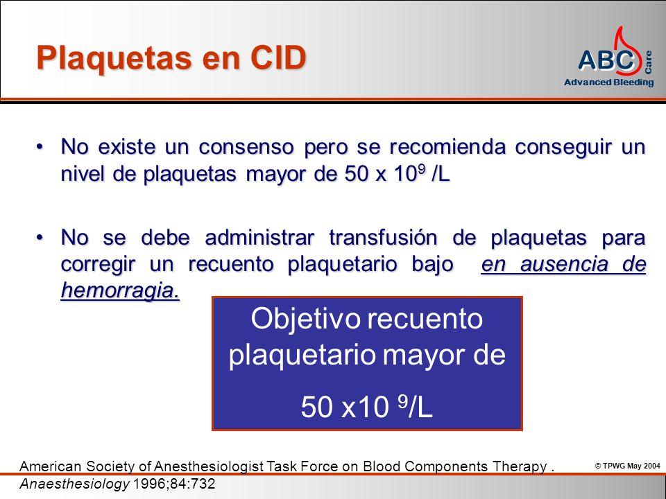 Objetivo recuento plaquetario mayor de