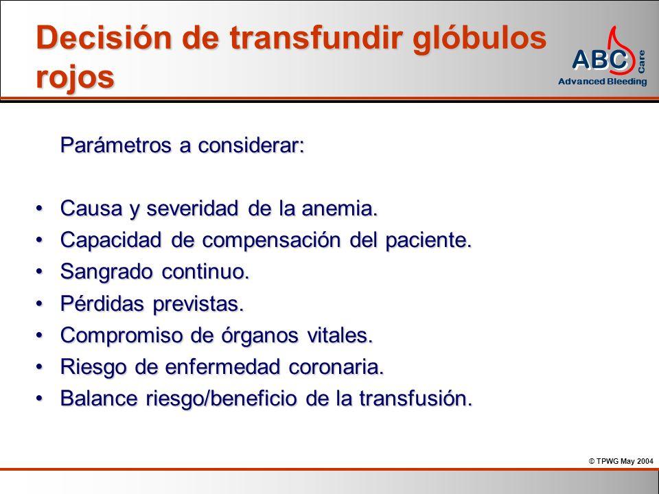 Decisión de transfundir glóbulos rojos