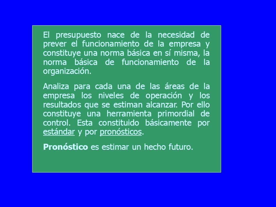 El presupuesto nace de la necesidad de prever el funcionamiento de la empresa y constituye una norma básica en sí misma, la norma básica de funcionamiento de la organización.