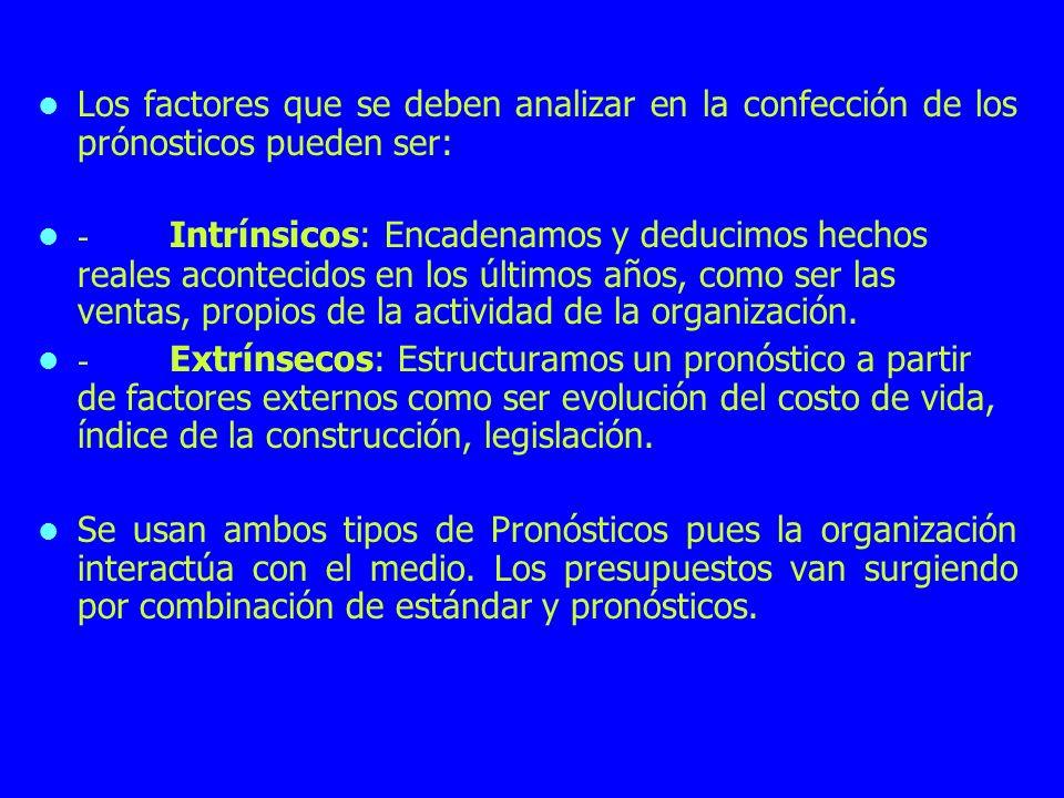 Los factores que se deben analizar en la confección de los prónosticos pueden ser: