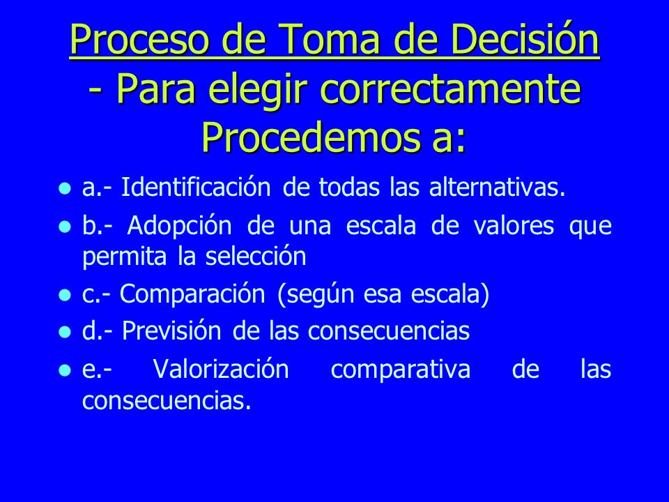 Proceso de Toma de Decisión - Para elegir correctamente Procedemos a: