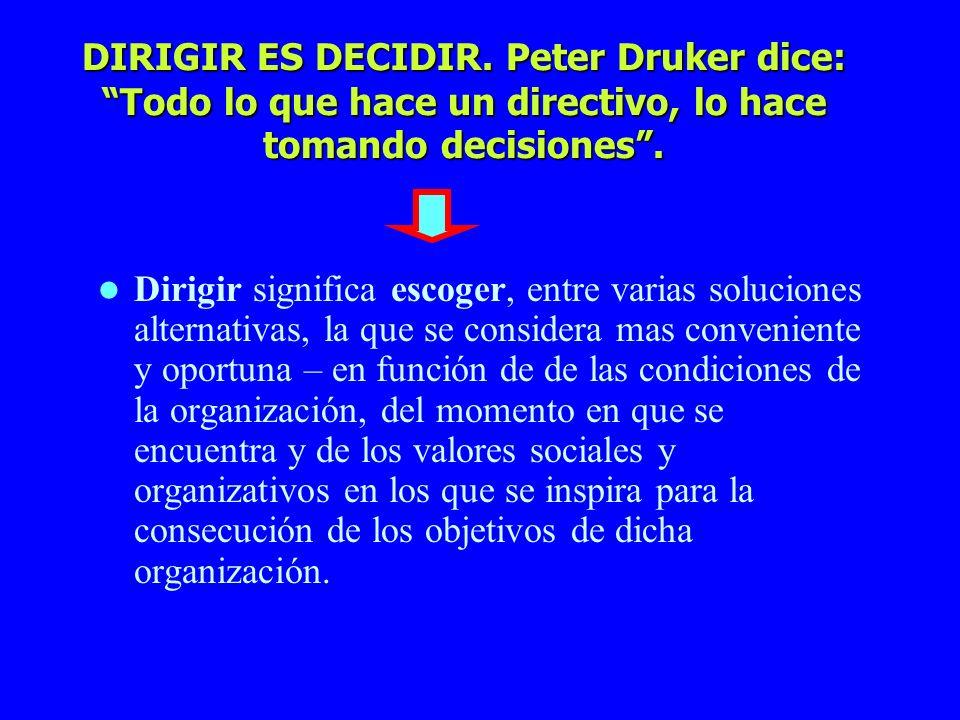 DIRIGIR ES DECIDIR. Peter Druker dice: Todo lo que hace un directivo, lo hace tomando decisiones .