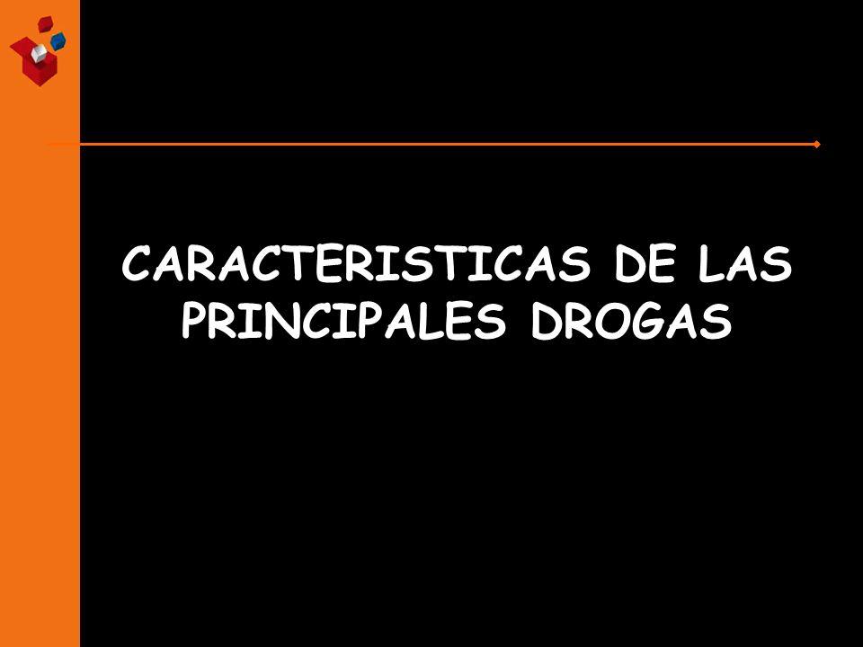 CARACTERISTICAS DE LAS PRINCIPALES DROGAS
