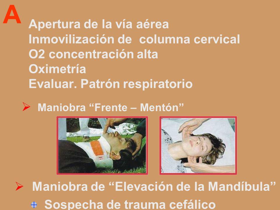 AApertura de la vía aérea Inmovilización de columna cervical O2 concentración alta Oximetría Evaluar. Patrón respiratorio.