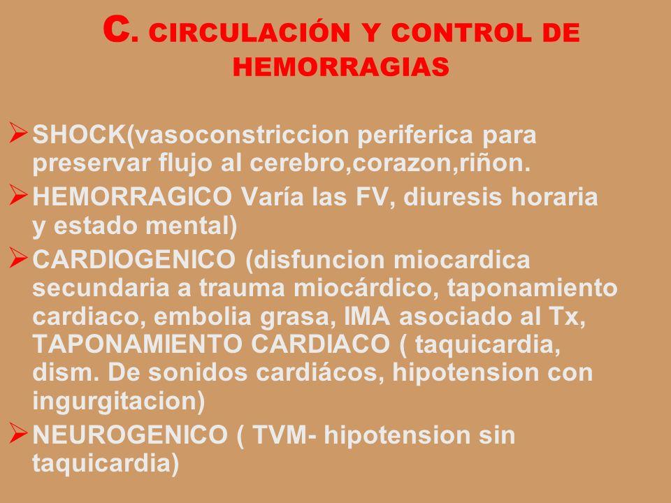 C. CIRCULACIÓN Y CONTROL DE HEMORRAGIAS