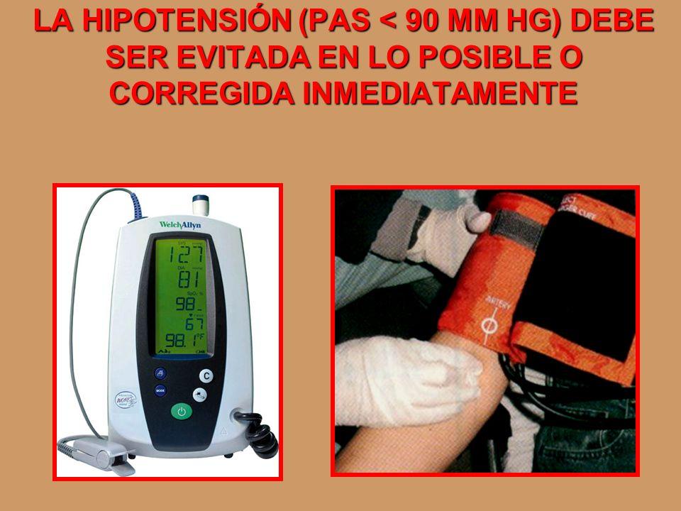 LA HIPOTENSIÓN (PAS < 90 MM HG) DEBE SER EVITADA EN LO POSIBLE O CORREGIDA INMEDIATAMENTE