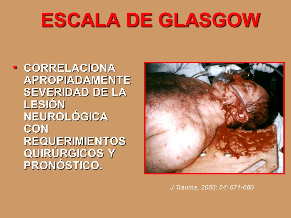 ESCALA DE GLASGOW CORRELACIONA APROPIADAMENTE SEVERIDAD DE LA LESIÓN NEUROLÓGICA CON REQUERIMIENTOS QUIRÚRGICOS Y PRONÓSTICO.