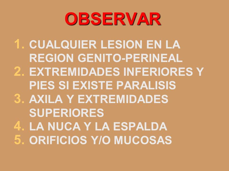 OBSERVAR CUALQUIER LESION EN LA REGION GENITO-PERINEAL