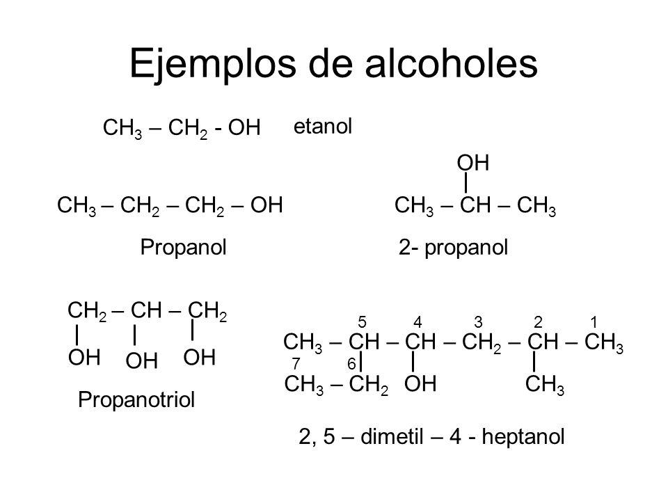 Ejemplos de alcoholes CH3 – CH2 - OH etanol OH