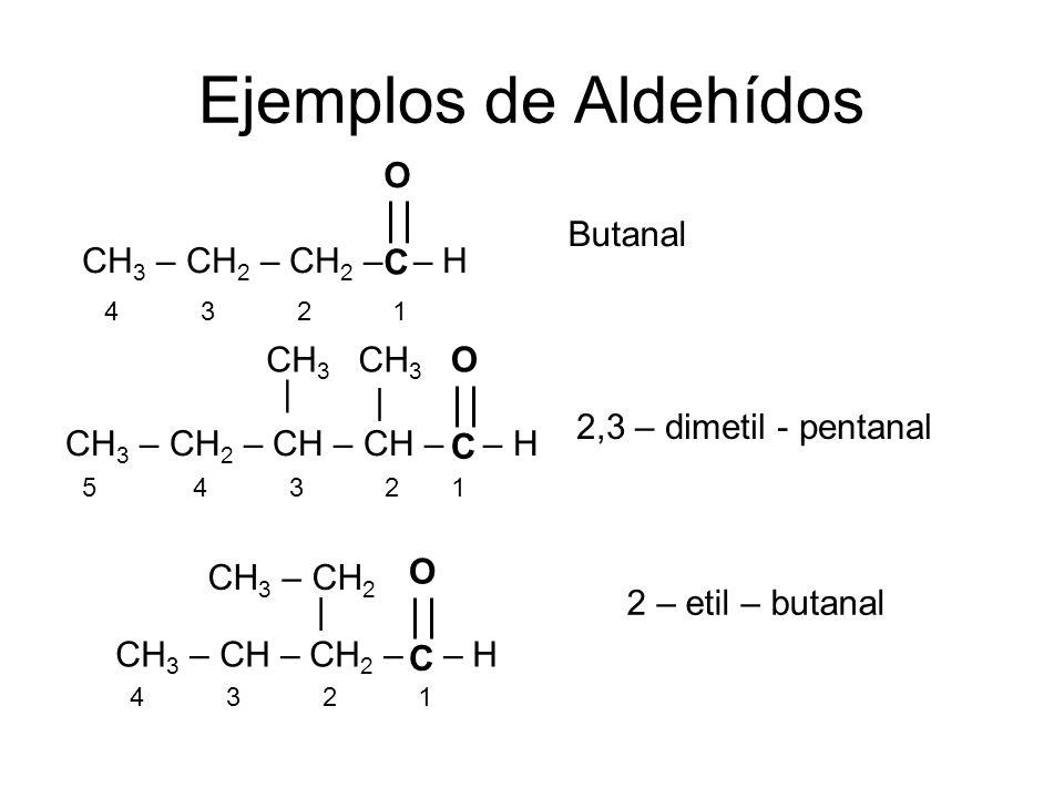 Ejemplos de Aldehídos CH3 – CH2 – CH2 – – H C O Butanal CH3 CH3 C O |