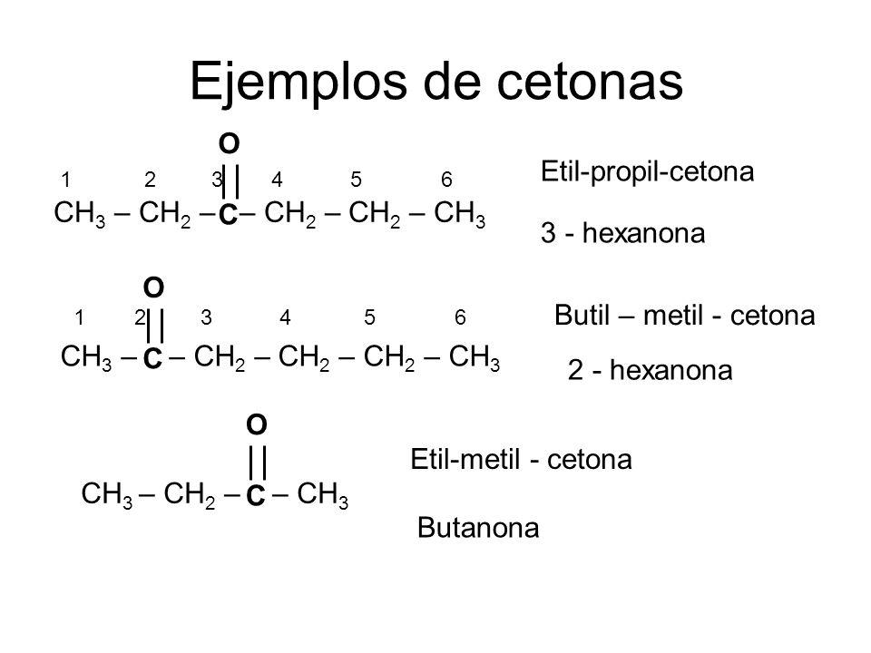 Ejemplos de cetonas O Etil-propil-cetona CH3 – CH2 – – CH2 – CH2 – CH3