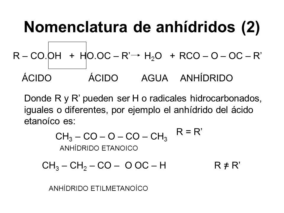 Nomenclatura de anhídridos (2)