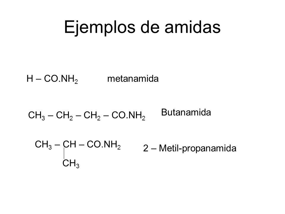 Ejemplos de amidas H – CO.NH2 metanamida Butanamida