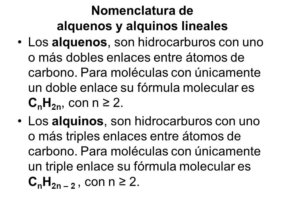 Nomenclatura de alquenos y alquinos lineales