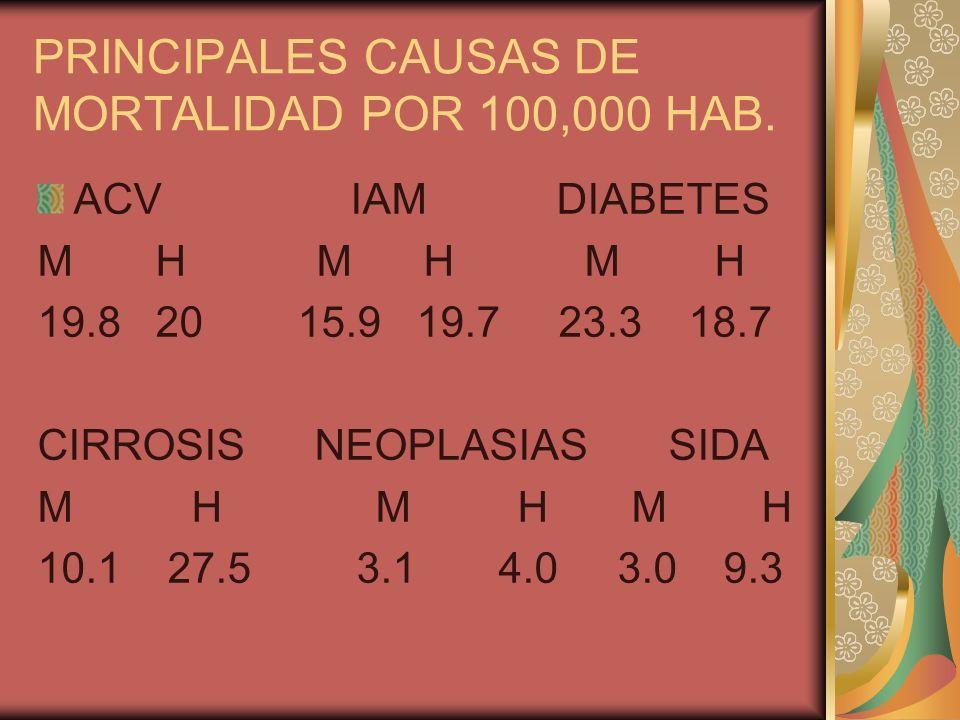 PRINCIPALES CAUSAS DE MORTALIDAD POR 100,000 HAB.