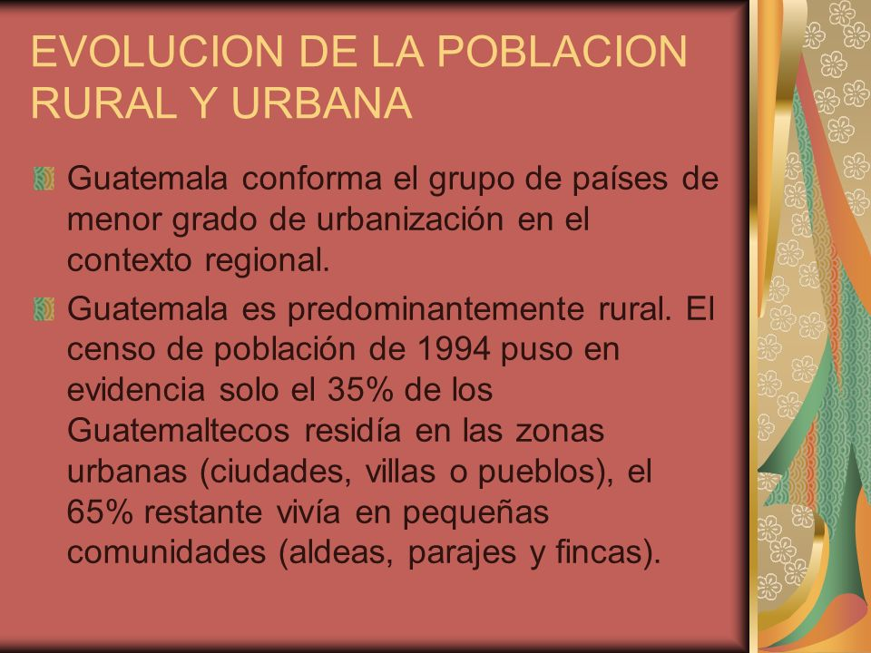 EVOLUCION DE LA POBLACION RURAL Y URBANA