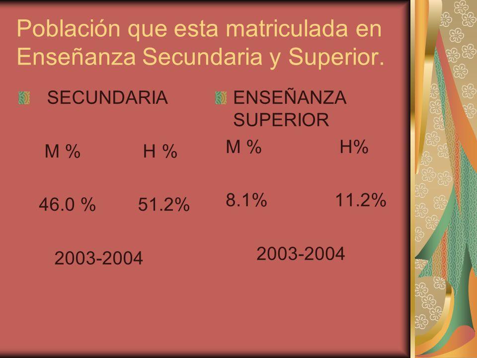 Población que esta matriculada en Enseñanza Secundaria y Superior.