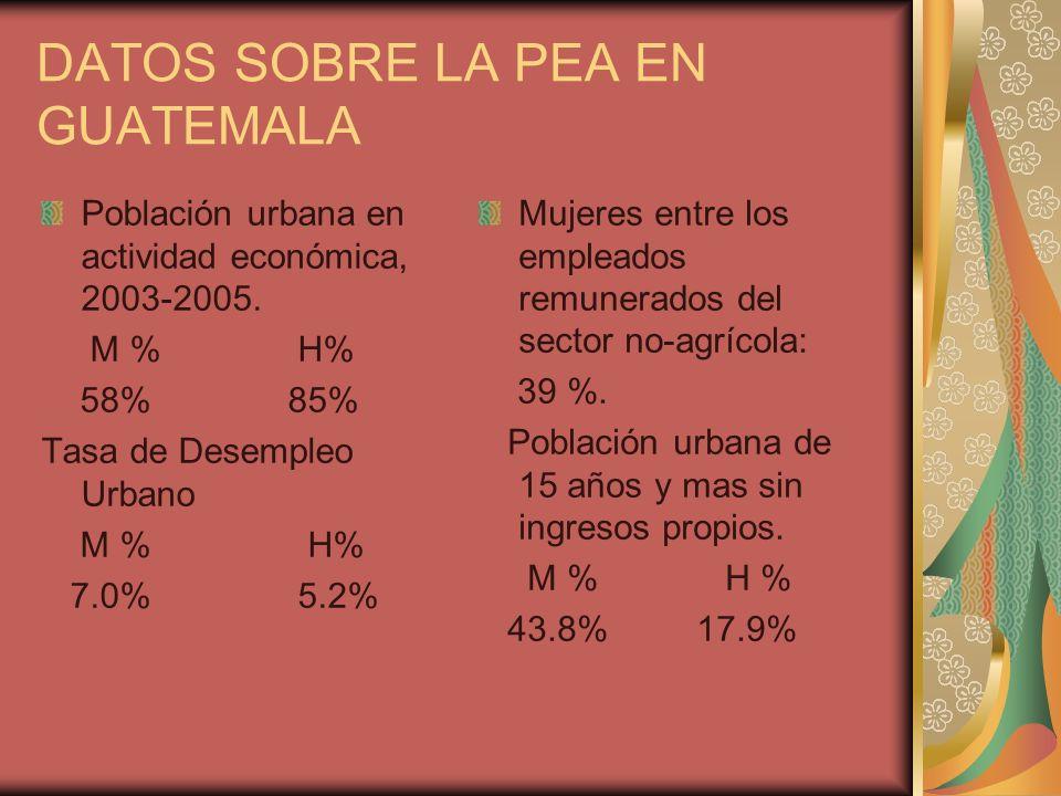 DATOS SOBRE LA PEA EN GUATEMALA