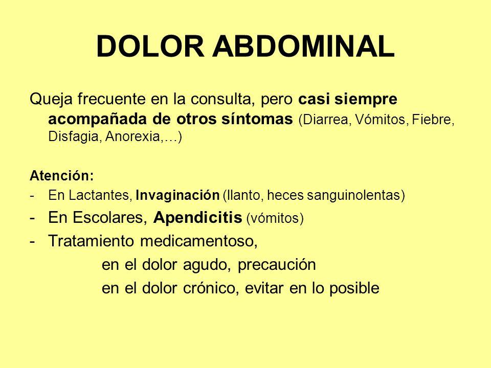 DOLOR ABDOMINAL Queja frecuente en la consulta, pero casi siempre acompañada de otros síntomas (Diarrea, Vómitos, Fiebre, Disfagia, Anorexia,…)