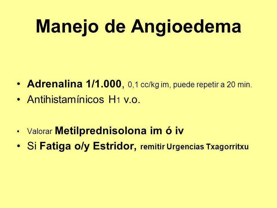 Manejo de Angioedema Adrenalina 1/1.000, 0,1 cc/kg im, puede repetir a 20 min. Antihistamínicos H1 v.o.