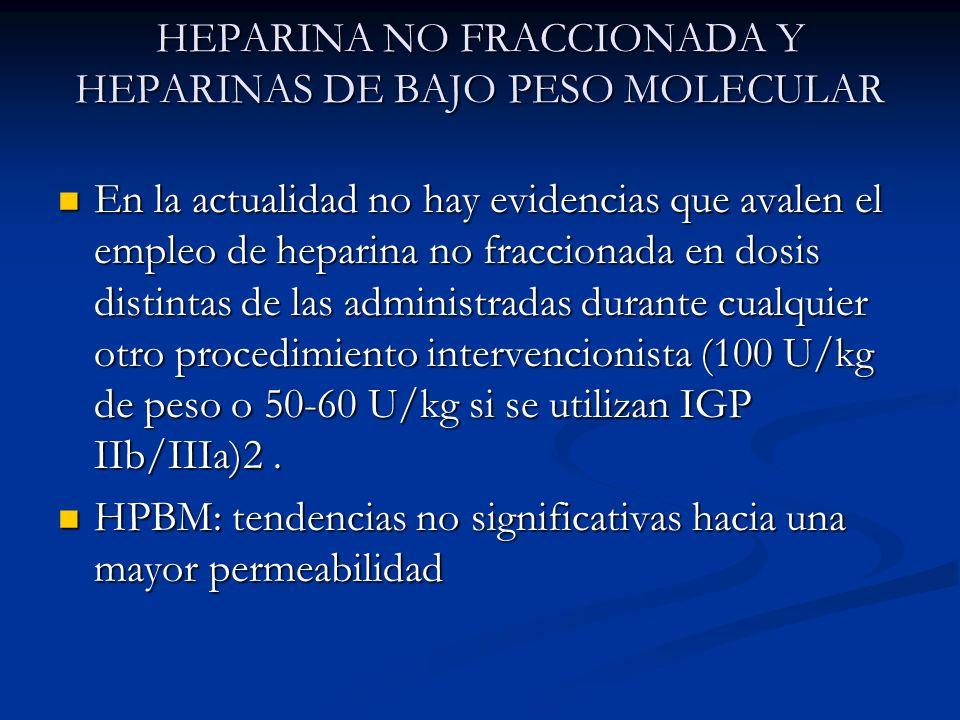HEPARINA NO FRACCIONADA Y HEPARINAS DE BAJO PESO MOLECULAR