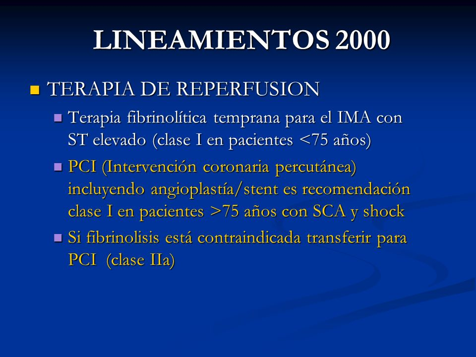 LINEAMIENTOS 2000 TERAPIA DE REPERFUSION
