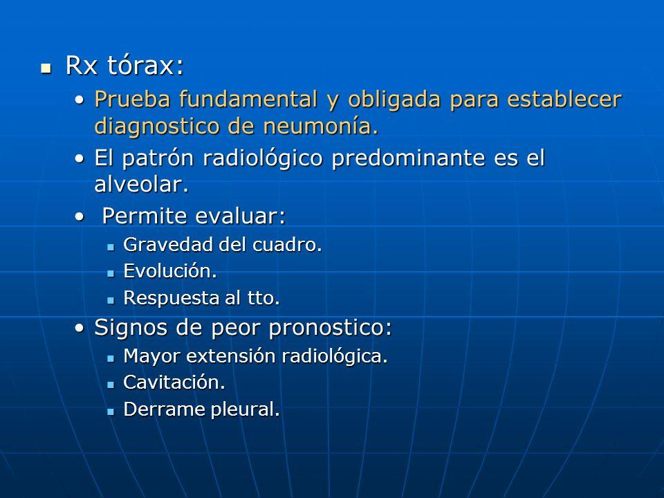 Rx tórax: Prueba fundamental y obligada para establecer diagnostico de neumonía. El patrón radiológico predominante es el alveolar.