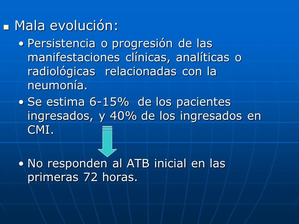 Mala evolución: Persistencia o progresión de las manifestaciones clínicas, analíticas o radiológicas relacionadas con la neumonía.