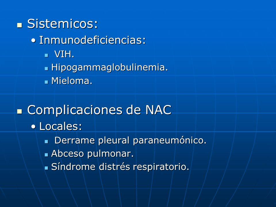 Sistemicos: Complicaciones de NAC Inmunodeficiencias: Locales: VIH.