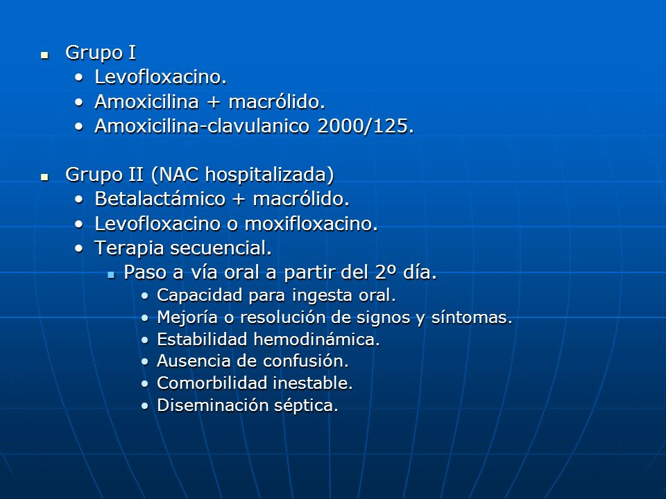 Amoxicilina + macrólido. Amoxicilina-clavulanico 2000/125.