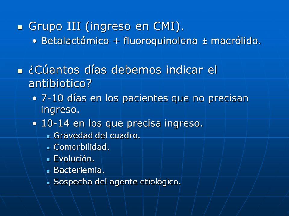 Grupo III (ingreso en CMI).