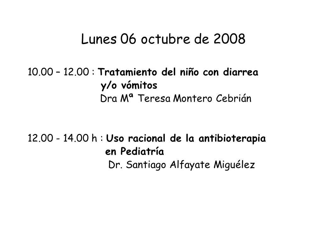 Lunes 06 octubre de 2008 10.00 – 12.00 : Tratamiento del niño con diarrea. y/o vómitos. Dra Mª Teresa Montero Cebrián.