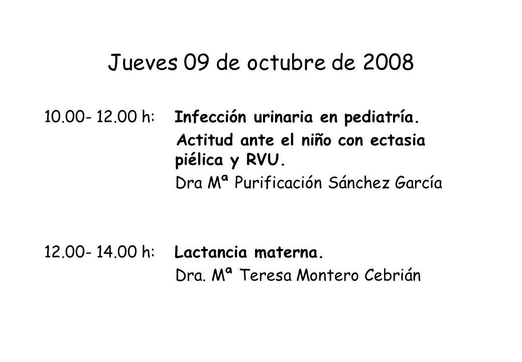 Jueves 09 de octubre de 200810.00- 12.00 h: Infección urinaria en pediatría. Actitud ante el niño con ectasia piélica y RVU.