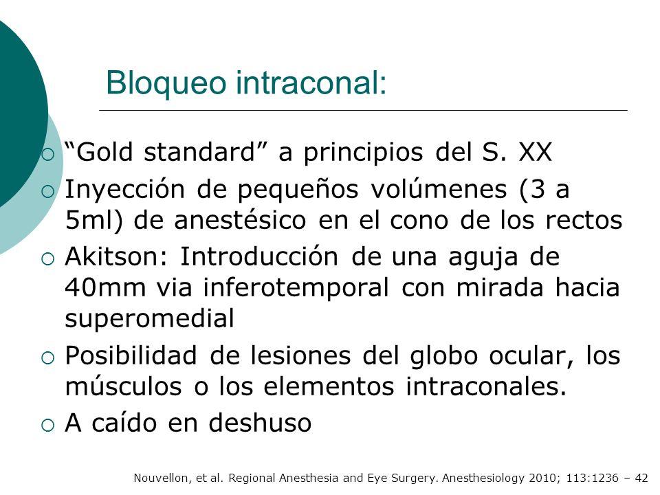 Bloqueo intraconal: Gold standard a principios del S. XX