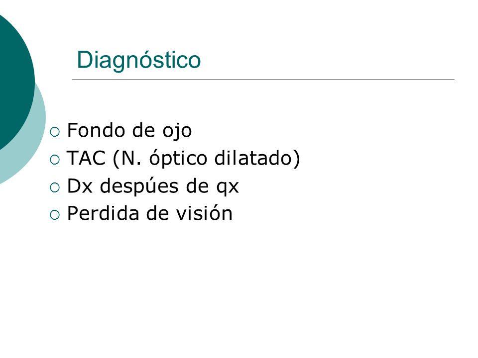 Diagnóstico Fondo de ojo TAC (N. óptico dilatado) Dx despúes de qx