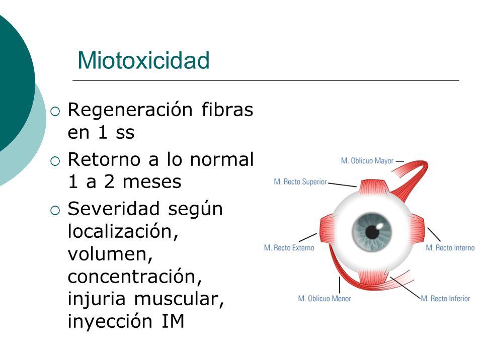 Miotoxicidad Regeneración fibras en 1 ss