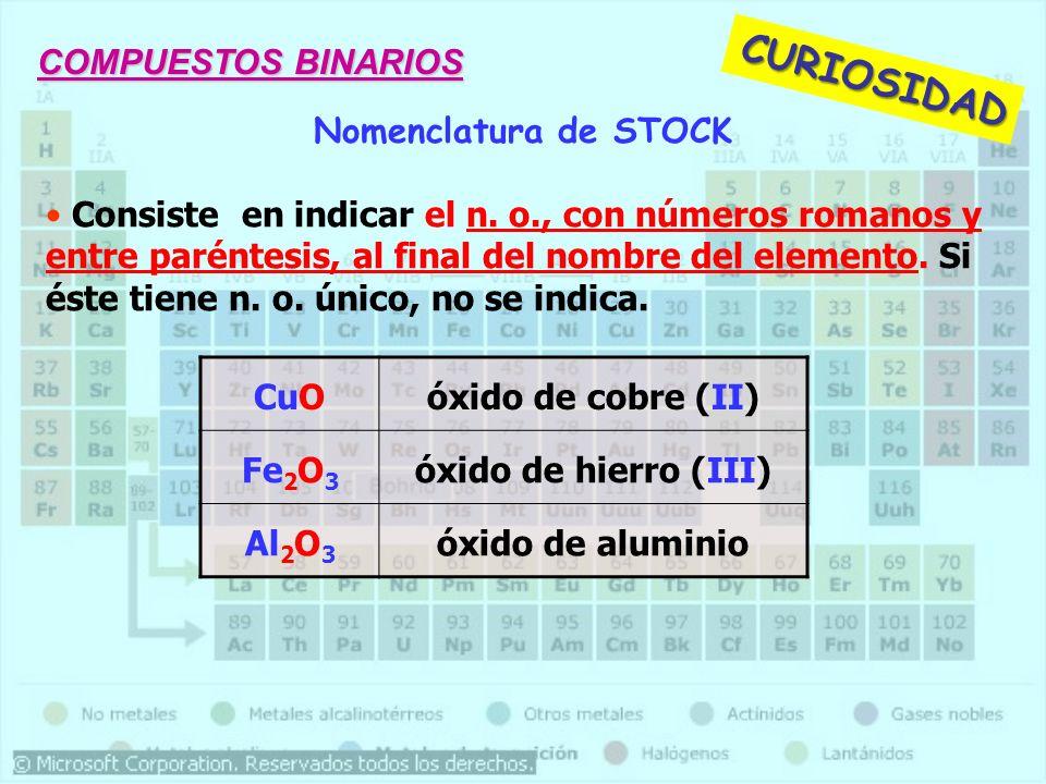 CURIOSIDAD COMPUESTOS BINARIOS Nomenclatura de STOCK
