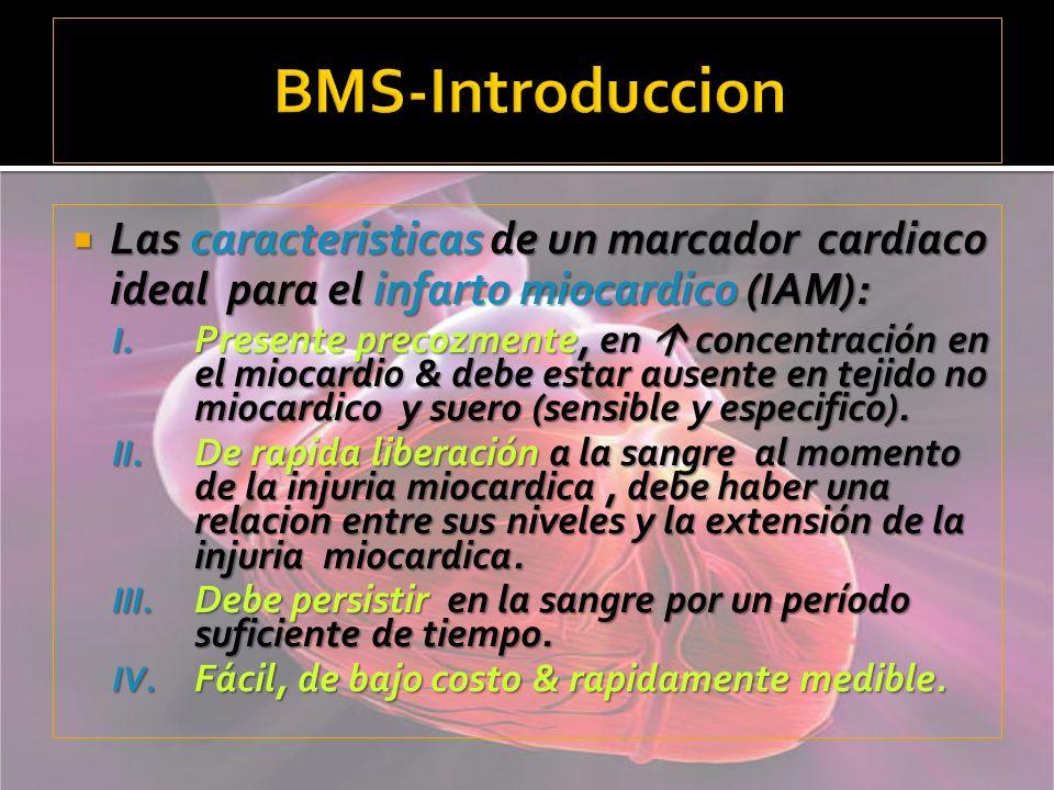 BMS-IntroduccionLas caracteristicas de un marcador cardiaco ideal para el infarto miocardico (IAM):
