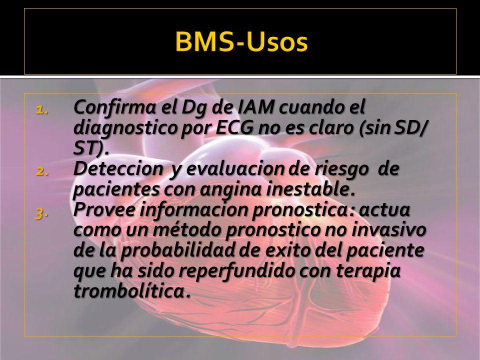 BMS-Usos Confirma el Dg de IAM cuando el diagnostico por ECG no es claro (sin SD/ ST).