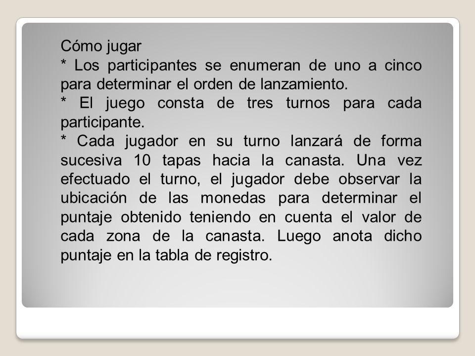 Cómo jugar* Los participantes se enumeran de uno a cinco para determinar el orden de lanzamiento.