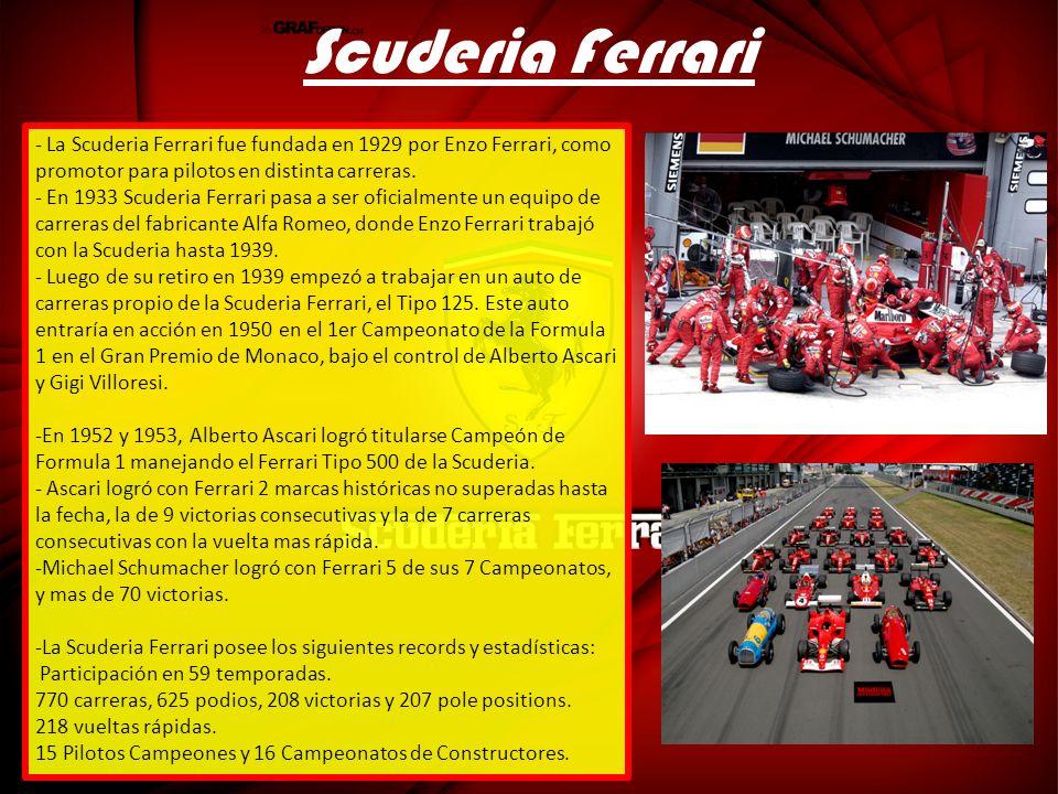 Scuderia Ferrari La Scuderia Ferrari fue fundada en 1929 por Enzo Ferrari, como promotor para pilotos en distinta carreras.