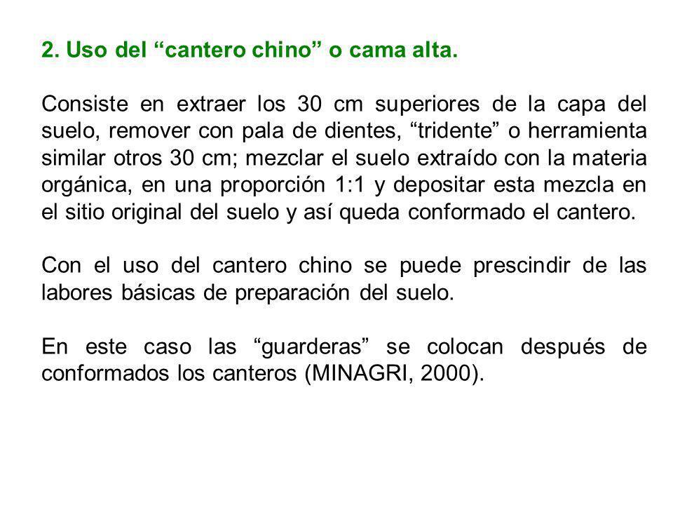 2. Uso del cantero chino o cama alta.