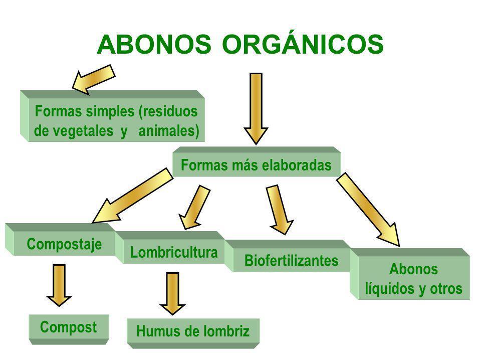 ABONOS ORGÁNICOS Formas simples (residuos de vegetales y animales)